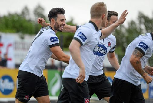 Richie Towell celebrates after scoring for Dundalk.
