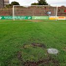 The offending penalty spot at Dalymount Park that caued the abandonment of Bohemians' clash with Shamrock Rovers
