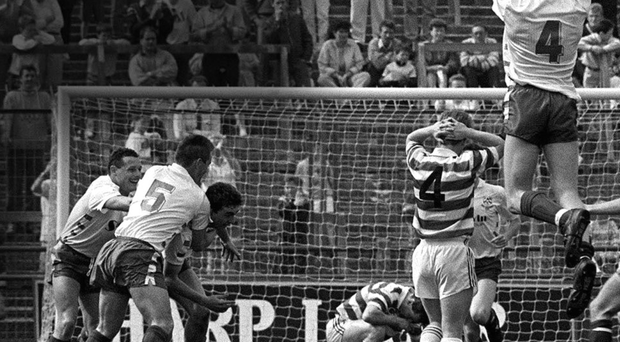 Bray's John Ryan is congratulated by teammates after scoring one of his three goals in the 1990 FAI Cup final SPORTSFILE