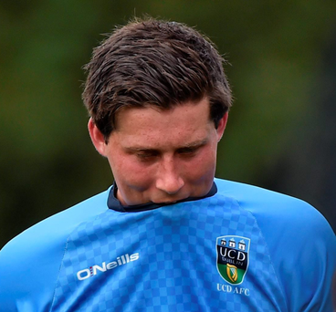 Tomas Boyle shows his disappointment after UCD's defeat to Slovan Bratislava