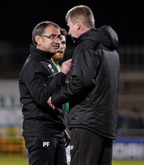 Shamrock Rovers manager Pat Fenlon makes a point to his Dundalk counterpart Stephen Kenny after the final whistle at Tallaght Stadium Photo: Sportsfile