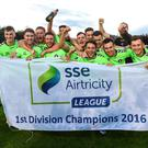Limerick players celebrate after clinching the SSE Airtricity League First Division title with their win at the UCD Bowl. Photo: Sportsfile