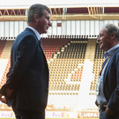 Stephen Kenny in conversation with Brian Kerr before Dundalk's Europa League game against AZ Alkmaar. Picture: Sportsfile