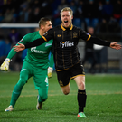 Daryl Horgan celebrates his goal against Zenit St Petersburg. Photo: David Maher. Photo: Sportsfile