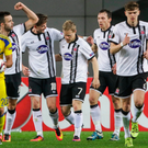 Dundalk players celebrate scoring against Maccabi Tel Aviv on Thursday night