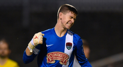 Alan Kelleher celebrates after saving a penalty for Cork City during the SSE Airtricity National U-17 League final against Bohemians at Turner's Cross. Cork won 4-2 on penalties after the game finished scoreless Photo: Eóin Noonan/Sportsfile