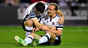 John Mountney is congratulated by Patrick Hoban after scoring the first goal. Photo: Sportsfile