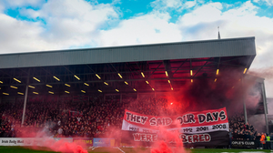 Bohemians supporters at Dalymount Park in Dublin. Photo by Stephen McCarthy/Sportsfile