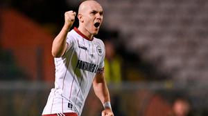 Georgie Kelly of Bohemians celebrates after scoring his side's second goal