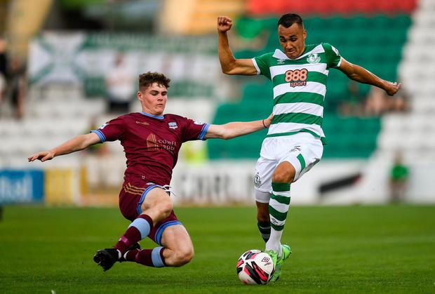 Graham Burke of Shamrock Rovers is tackled by Alex Murphy of Galway United during the FAI Cup first round match at Tallaght Stadium. Photo by Ben McShane/Sportsfile