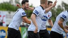 Richie Towell, left, Dundalk, celebrates after scoring his side's first goal