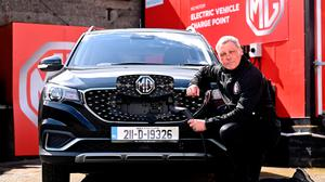 Bohemians manager Keith Long is pictured at the announcement of MG as the club's Official Vehicle Partner for 2021
