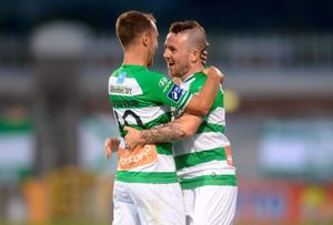 Shamrock Rovers' Gary McCabe, right, celebrates with team-mate Sean O'Connor after scoring his side's second goal