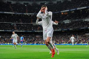 Gareth Bale of Real Madrid celebrates after scoring Real's opening goal during the La Liga match between Real Madrid CF and Levante UD