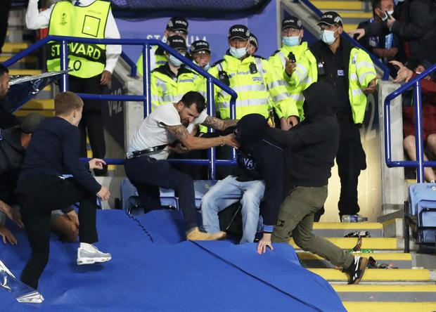 Fans clash after the Europa League clash at Leicester's King Power Stadium. Photo: Reuters