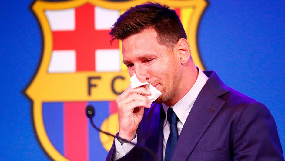 An emotional Lionel Messi departed Barcelona in tears.