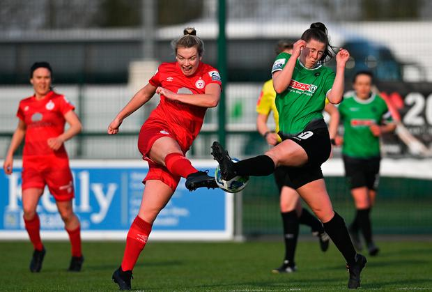 Shelbourne's Saoirse Noonan has a shot at goal blocked by Eleanor Ryan-Doyle of Peamount United during the SSE Airtricity Women's National League match at PLR Park in Greenogue, Dublin. Photo: Ramsey Cardy/Sportsfile