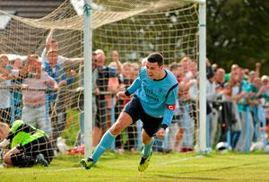 Danny Long, Avondale United, celebrates after scoring his side's equalising goal. FAI Ford Cup, Quarter-Final