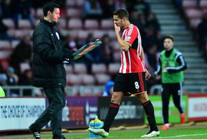 Jack Rodwell of Sunderland leaves the field after being sent off during the FA Cup Fourth Round match between Sunderland and Fulham at Stadium of Light