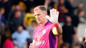 Celtic goalkeeper Joe Hart walks off after the final whistle at the match at the Tony Macaroni Arena. Photo: PA Wire