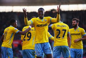 Yaya Sanogo of Crystal Palace (9) celebrates as Marouane Chamakh (obscured) scores their third goal during the FA Cup Fourth Round match between Southampton and Crystal Palace at St Mary's Stadium
