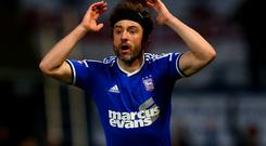 Stephen Hunt reacts after a goal was disallowed during the FA Cup third round replay match between Ipswich Town and Southampton