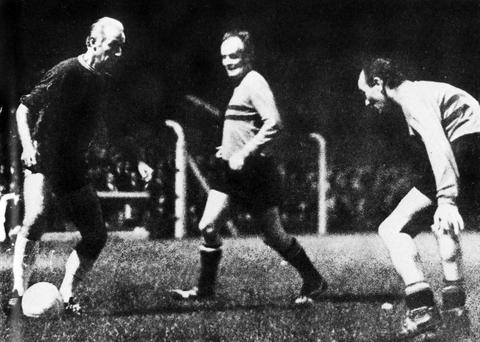 ON YOUR MARK: Ulick O'Connor, centre, with Stanley Mathews, left, and Peter Farrell, right, playing in 1969