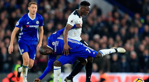 Chelsea's N'Golo Kante tangles with Tottenham's Victor Wanyama in the Blues' derby victory at Stamford Bridge yesterday. Photo: Adam Davy