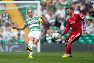Celtic's Scott Brown (left) and Aberdeen David Goodwillie during the Scottish Premiership match at Celtic Park, Glasgow