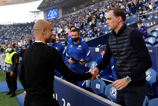 Manchester City manager Pep Guardiola with Chelsea manager Thomas Tuchel. Photo: REUTERS/Pierre-Philippe Marcou
