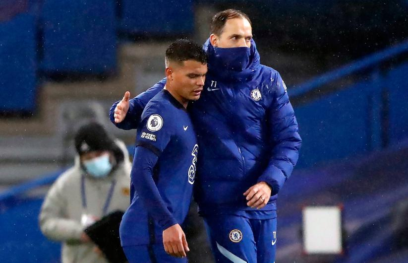 Chelsea's Thiago Silva with manager Thomas Tuchel. Chelsea remain without Thiago Silva for the Premier League clash with Manchester United. Photo: Frank Augstein/PA