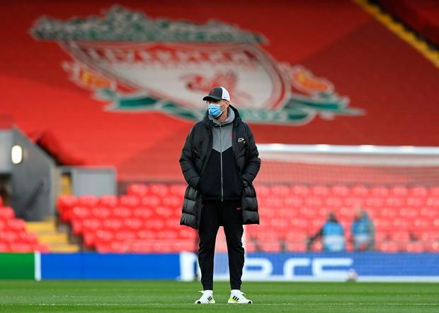 Jurgen Klopp in an empty Anfield