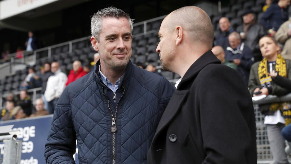 Football Partnerships and Pathways Manager Fergal Harkin of Manchester City with assistant trainer Jefta Bresser of NAC Breda during the Dutch Eredivisie match between NAC Breda and Heerenveen at the Rat Verlegh stadium on April 29, 2018 in Breda, The Netherlands. Photo: VI Images via Getty Images