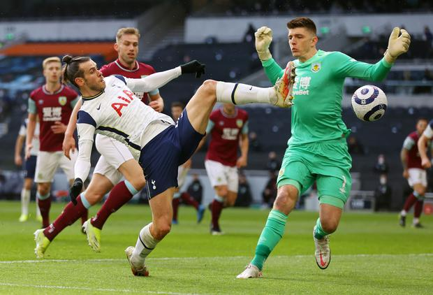 Tottenham Hotspur's Gareth Bale in action with Burnley's Nick Pope during yesterday's Premier League match at Tottenham Hotspur Stadium, London. Photo: Reuters/Julian Finney