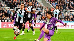 Son Heung-min scores Tottenham's third goal at St James' Park yesterday. Photo: Getty