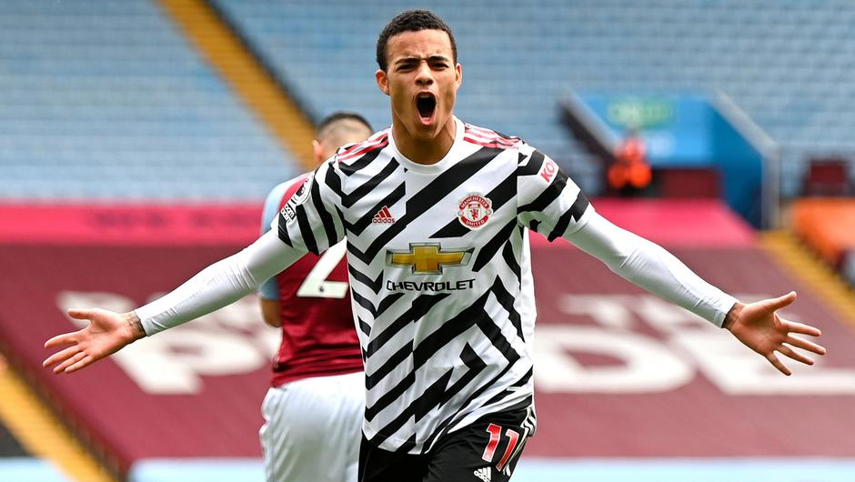 Manchester United's Mason Greenwood celebrates scoring his side's second goal in their Premier League victory at Villa Park. Photo: Shaun Botterill/PA