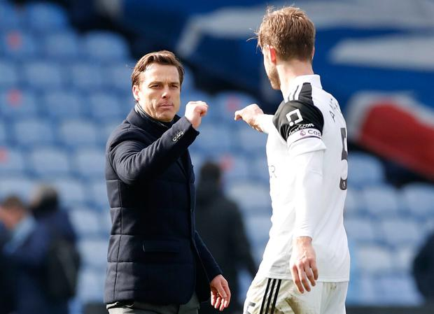 Fulham manager Scott Parker with Joachim Andersen. Photo: Andrew Boyers/Reuters
