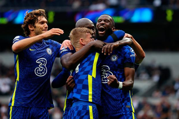 Chelsea's Antonio Ruediger celebrates with team-mates Timo Werner, Romelu Lukaku and Marcos Alonso after scoring his side's third goal during their Premier League victory over Tottenham Hotspur at Tottenham Hotspur Stadium. Photo: Caatherine Ivill/Getty Images