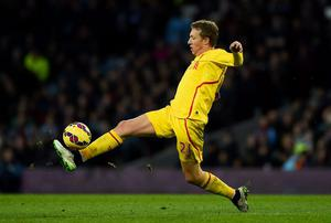 Lucas Leiva of Liverpool controls the ball during the Barclays Premier League match between Aston Villa and Liverpool