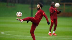 Liverpool's Mohamed Salah during training at the AXA Training Centre in Liverpool yesterday.