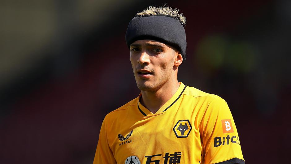 Wolves striker Raul Jimenez pictured in his protective headband during a pre-season friendly. Photo: Charlotte Tattersall/Getty Images