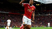 Anthony Martial celebrates scoring his side's third goal of the game