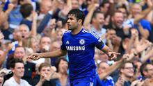 Chelsea's Diego Costa celebrates scoring his side's third goal and his hat trick during the Barclays Premier League match at Stamford Bridge
