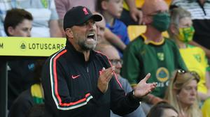 Liverpool manager Jurgen Klopp reacts during their opening Premier League win at Norwich