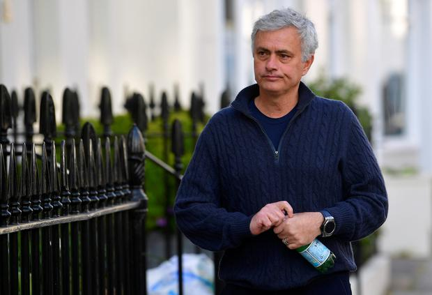 Jose Mourinho arriving at his London home yesterday. Photo by Reuters