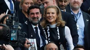 Newcastle United chairman Yasir Al-Rumayyan with part owner Amanda Staveley in the stands