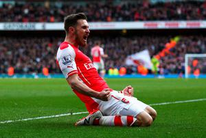 Aaron Ramsey of Arsenal celebrates scoring his team's second goal