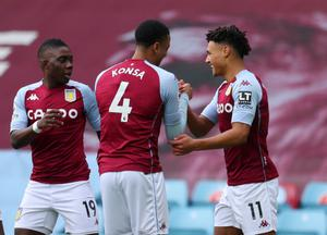 Aston Villa striker Ollie Watkins (right) celebrates his goal in the win over Arsenal. Image credit: PA.