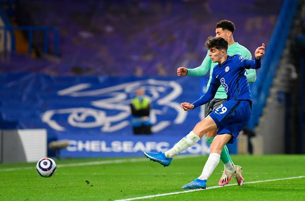 Kai Havertz of Chelsea scores a goal which is later disallowed due to a handball during the Premier League match between Chelsea and Everton at Stamford Bridge. Photo: Mike Hewitt/Getty Images