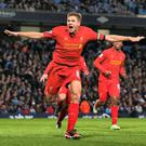 Steven Gerrard scores against Manchester City before issuing his famous rallying call